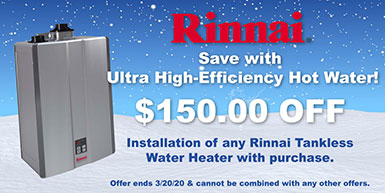 Rinnai $150 off coupon